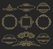 Affärskrusidulltecken och klassisk gräns av logoen Arkivbild