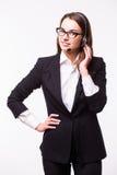 Affärskvinna, callcenter Arkivfoto