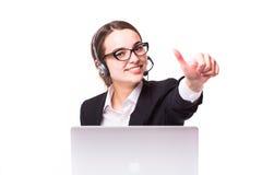 Affärskvinna, callcenter Arkivbild