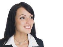 Affärskvinna - closeupleende Arkivfoto
