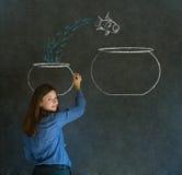 Kvinna med banhoppningfisken som är liten till den stora bunken som drar på blackboarden Arkivfoto