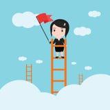 Affärskvinna, en stege som är företags av framgång Arkivbild