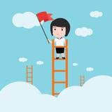 Affärskvinna, en stege som är företags av framgång Arkivfoton