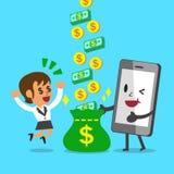 Affärskvinna för hjälp för affärsidétecknad filmsmartphone som tjänar pengar Arkivfoto