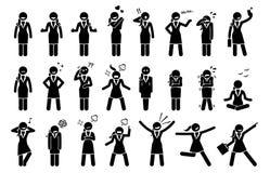 Affärskvinna Feelings och sinnesrörelser vektor illustrationer