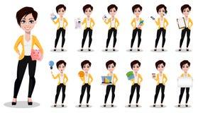 Affärskvinna, freelancer, bankir Den härliga damen i tillfällig kläder, uppsättning av tretton poserar stock illustrationer