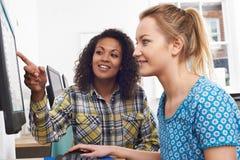Affärskvinna Giving Computer Training i regeringsställning royaltyfri bild