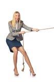 Affärskvinna i bogserbåt Arkivfoton