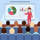 Affärskvinna i dräktdanandepresentation som ombord förklarar diagram för åhörare i konferenskorridoren, affärsseminarium, tra royaltyfri illustrationer