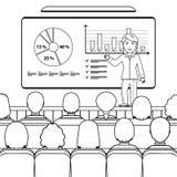 Affärskvinna i dräktdanandepresentation som ombord förklarar diagram för åhörare i konferenskorridoren, seminarium, föreläsning V royaltyfri illustrationer