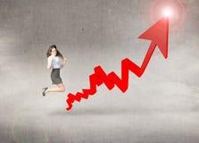 Affärskvinna i en positiv trend Arkivbilder