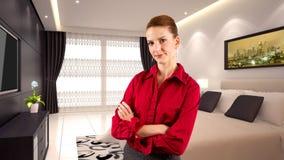 Affärskvinna i ett hotell Royaltyfria Foton