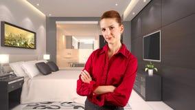 Affärskvinna i ett hotell Fotografering för Bildbyråer