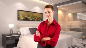 Affärskvinna i ett hotell Royaltyfria Bilder