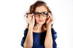 Affärskvinna i exponeringsglas Arkivfoton