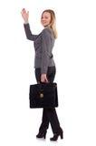 Affärskvinna i grå färgdräkten som isoleras på vit Arkivfoto