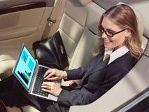 Affärskvinna i hennes bil med bärbara datorn Arkivfoto