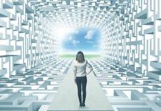 Affärskvinna i labyrint Arkivbilder
