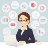 Affärskvinna i regeringsställning royaltyfri illustrationer