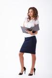 Affärskvinna i studio Arkivfoto