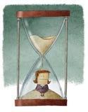Affärskvinna i timglas stock illustrationer