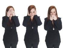 Affärskvinna - ingen ondska Arkivfoton