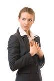 affärskvinna isolerad SAD white fotografering för bildbyråer