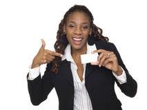 Affärskvinna - lyckligt affärskort royaltyfria foton