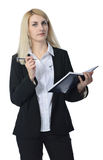 Affärskvinna med anteckningsboken Arkivbilder
