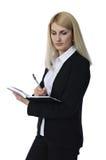 Affärskvinna med anteckningsboken Royaltyfri Fotografi