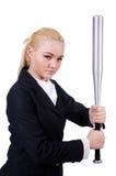 Affärskvinna med baseballslagträet Royaltyfri Bild