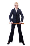 Affärskvinna med baseballslagträet Fotografering för Bildbyråer