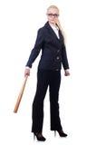 Affärskvinna med baseballslagträet Arkivbild