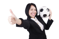 Affärskvinna med bollen Arkivfoto