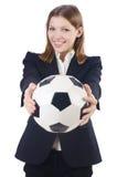 Affärskvinna med bollen Royaltyfri Bild