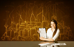 Affärskvinna med byggnader och nummer Arkivbild