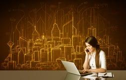 Affärskvinna med byggnader och nummer Arkivbilder