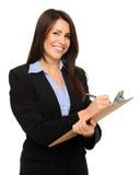 Affärskvinna med clipboarden arkivbilder
