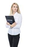Affärskvinna med clipboarden Arkivfoton