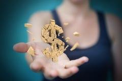 Affärskvinna med den exploderande tolkningen för dollarvaluta 3D Royaltyfri Foto