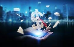 Affärskvinna med den exploderande tolkningen för dollarvaluta 3D Arkivbild