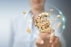 Affärskvinna med den exploderande tolkningen för eurovaluta 3D Arkivbild