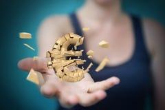 Affärskvinna med den exploderande tolkningen för eurovaluta 3D Royaltyfri Fotografi