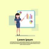 Affärskvinna med den finansiella Flip Chart Seminar Training Conference idékläckningpresentationen vektor illustrationer