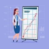 Affärskvinna med den finansiella grafen för Flip Chart Seminar Training Conference idékläckningpresentation stock illustrationer