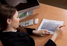 Affärskvinna med den finansiella rapporten på kontoret Arkivfoton