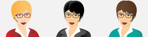Affärskvinna med den handsfree apparaten för bluetooth royaltyfri illustrationer