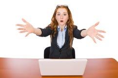 Affärskvinna med den isolerade bärbara datorn Royaltyfri Foto