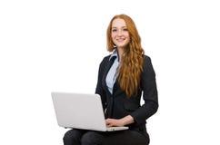 Affärskvinna med den isolerade bärbara datorn Royaltyfria Bilder