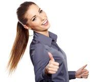 affärskvinna med det ok handtecknet Royaltyfri Fotografi